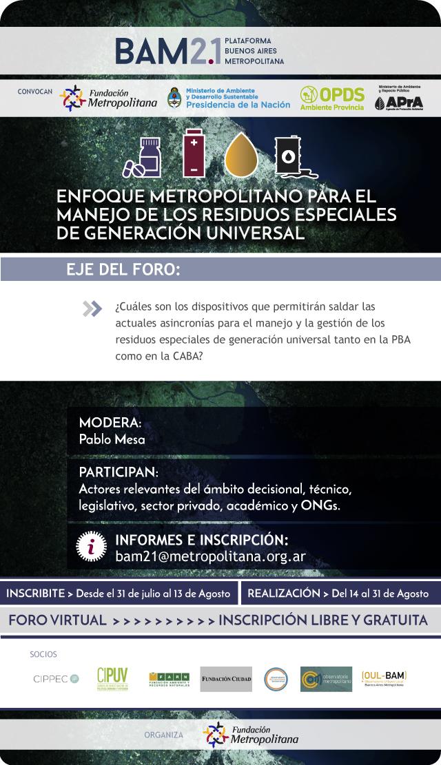 Enfoque metropolitano para el manejo de los residuos especiales de generación universal